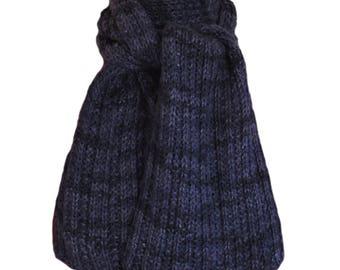Hand Knit  Scarf - Blue Alpaca Trail Ridge Rib