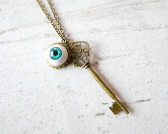 Eye Key Necklace gothic vintage