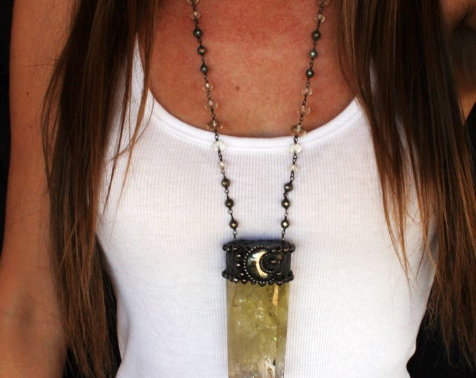 Massive Citrine Crystal Pyrite Moon Necklace