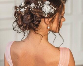 Bridal headpiece, Wedding hair accesories, Bridal hair comb, Flower comb, wedding hair accessories,pearl headpiece, flower crown,