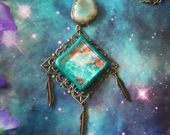 Cosmic tribe Agate crystal necklace