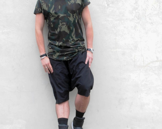 Dark Camo Printed Dropped Should Mid Weight Tee Shirt Tshirt Long Length Tunic Shirt Tail Hem