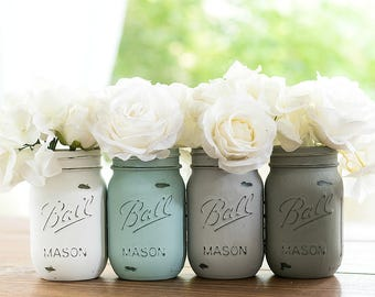 Painted Mason Jars - Chalk Paint Mason Jars - Baby Blue, Gray, Greige, White
