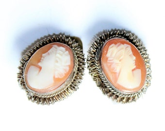 Carved Cameo Ladies 800 Silver Twisted Wire Vintage Clip On Earrings (c1930s) - Wedding