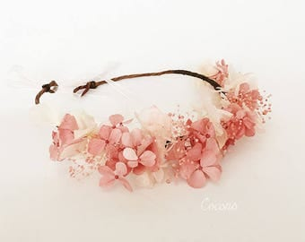 Bridal Flower CROWN, Dusty Pink and Ivory  Preserved Hydrangeas Crown,  Rustic Flower Crown, Woodland Wedding Halo, Woodland Flower Crown