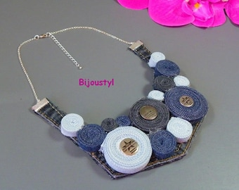 Bib necklace * 1 Luah * Jeans recycled * jeans button * silver plated chain