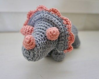 Amigurumi Crochet Stuffed Triceratops, Pink