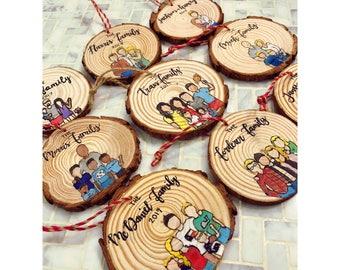Custom Family Portrait Ornament (1-5 people) Custom Ornament, Wood Ornament, Christmas Ornament, Personalized Gift, Custom Cartoon, Ornament