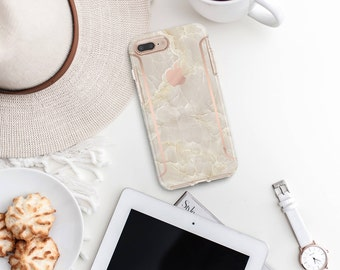 Breccia Beige and Rose Gold Case Otterbox Symmetry iPhone 6 / iPhone 7 / iPhone 8 / iPhone X -Platinum Edition - Precious Stones Collection