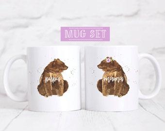 Mama and Papa bear mug set - his and her mugs - bear mugs - bear mug set gifts - gifts - papa bear mug - mama bear mug - couple mugs