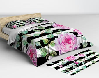 Duvet Cover Queen, Black and White Pink Rose, Duvet Covers, and Comforters Twin Full Queen and King Sizes Matching Pillow Shams Available