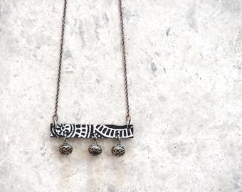 Leather Bar Necklace, Tribal Necklace with Moroccan Beads, Leather Jewellery Gift for Women