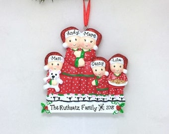 5 Family Matching Pajamas Family Ornament / Family of 5 / Personalized Christmas Ornament / Pajamas / Triplets / Hand Personalized
