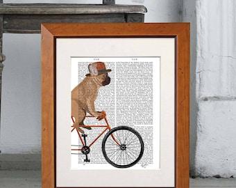 French bulldog gift -  French bulldog on bicycle - Frenchie French bulldog art French bulldog decor Frenchie dog Frenchie wall art Dog decor