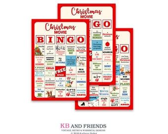 "Digital Christmas Movie bingo card party game kit / DIY / red / printable / downloadable / PDF and JPEGs / 20 5"" by 7"" cards / party game"