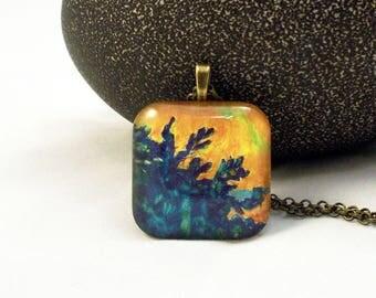 Cobalt Blue & Orange Organic Design Glass Pendant Necklace