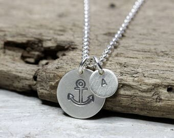 925 silver necklace with pendant anchor and letter, maritime necklace, small round pendant with engraving made of 925 silver