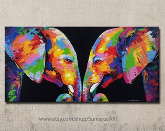 60 x 120 cm, Colorful Elephant Painting wall decor on canvas