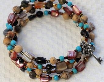 Multi Gemstone Wrap Bracelet