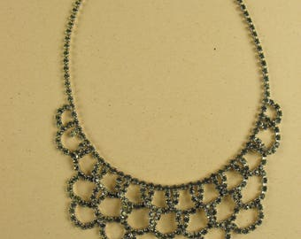 Vintage Rhinestone Bib drape necklace