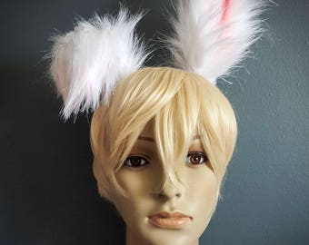 White and Pink Fluffy Realistic Bunny Rabbit Ears Faux Fur Ears Kawaii Bunny Cosplay Handmade Costume Faux Fur Ears