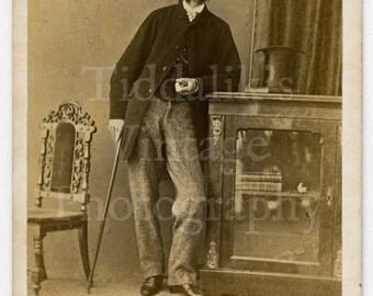 CDV Photo Victorian Young Handsome Man with Mutton Chops Holding Cane, Top Hat Portrait - Carte de Visite Antique Photograph