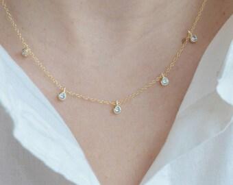 Cz necklace, gold cz necklace, tiny cz necklace, minimalist cz necklace, 24k gold filled cz necklace, clear cz necklace