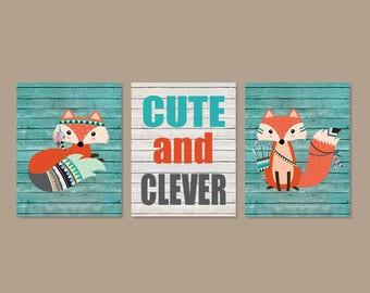 Fox Nursery Decor Boy Nursery Wall Art Cute And Clever Fox Nursery Set of 3 Prints Or Canvas Woodland Nursery Woodland Animals