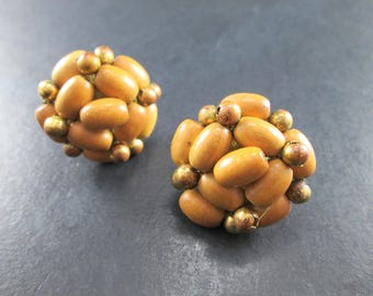 Vintage Brown & Gold Tn Bead Cluster Screw Back Earrings 50s Mid Century