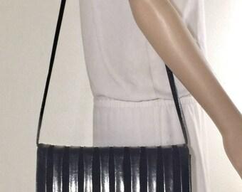 Black Leather Velvet Purse, Bag, Shoulder Bag, 1980s