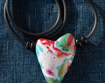 NecklaceSpaceHearts #Necklace with pendant Heart #Heart in polymerclay #Tribal Jewel with Heart #handmade Heart, piece unic #well crafted