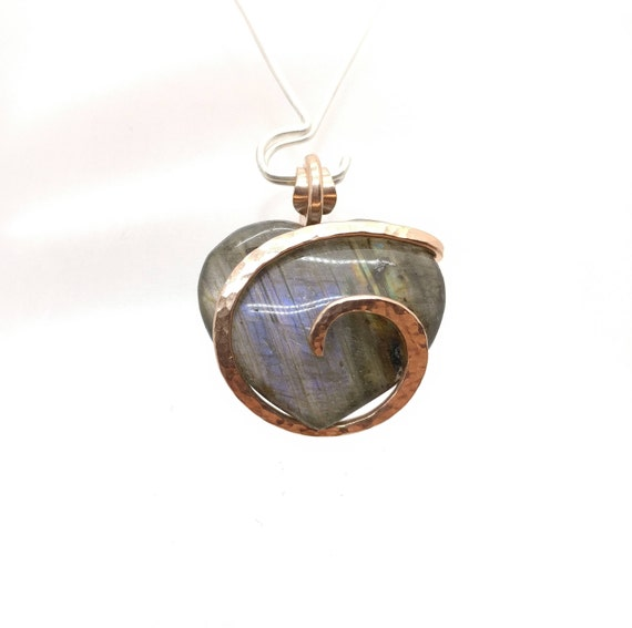 Healing Labradorite Pendant   Purple Labradorite Heart   14kt Rose Gold Filled   Gift for Girlfriend   Gift for Wife   Heart Necklace