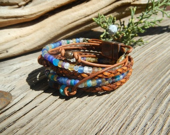 Boho Jewelry, Leather Wrap ,Bracelet Boho, Wrap Bracelet,  Leather Wrap,  Beaded Wrap,  Leather Bracelet  ,Wrap Leather Bracelet ,JEWELRY ,