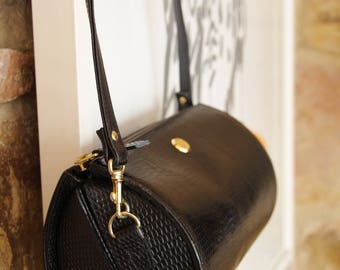 Vintage SONIA RYKIEL 90s Leather Barrel Bag - Black