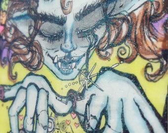 Durga usagi OOAK mixed media on wood