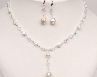 Pearl Wedding jewelry set Freshwater pearl and Swarovski crystal bridal jewellery set pearl drop necklace & earrings wirework handmade gift