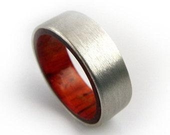 Silver Ring, African Padauk Ring, Silver Wood Ring, African Ring, Wood Silver Ring, Handmade Jewelry, Redwood Ring, Handmade Ring