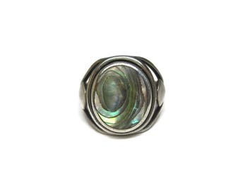 Vintage Sterling Abalone Ring Size 6