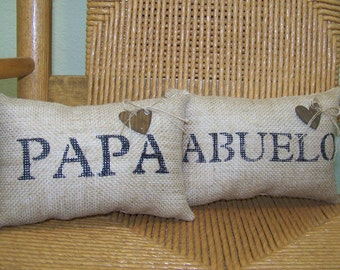 Papa pillow, Abuelo pillow, burlap pillow, Grandparent's gift, mini pillow, Father's day gift, accent pillow, FREE SHIPPING!