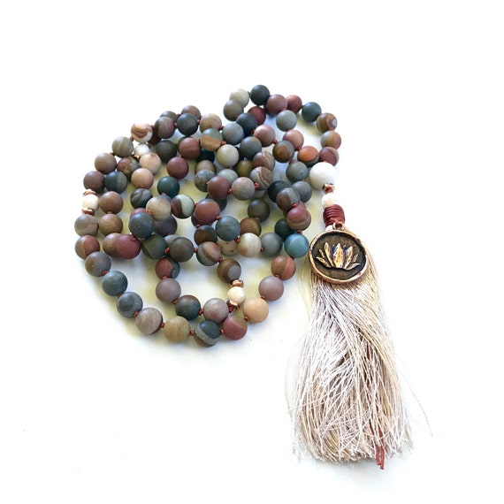 Landscape Jasper Mala Beads To Help Combat Exhaustion, Mala For Calming, 108 Mala Bead Necklace, Hand Knotted Mala With Silk Tassel