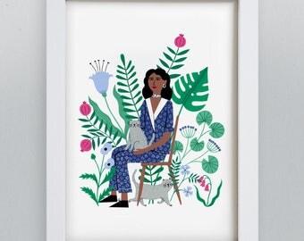 A4 Cat Lady Art Print | Botanical wall art | fashion illustration | animal painting | flower jungle garden art | jungle gift | cute animals