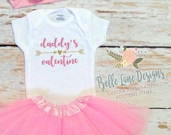 Daddy's Valentine Baby Girl Valentine Onesie | Baby Girl Valentine Shirt |  Valentine Onesie | Baby First Valentine | 166
