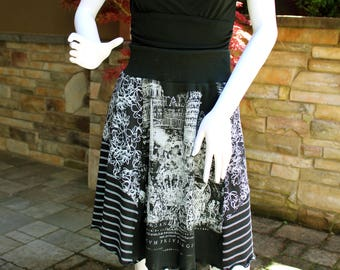Knit T-Skirt (M), 'Italy'  Eco-Friendly Tshirt Skirts, Repurposed T-Shirt Skirt, Upcycled Skirt