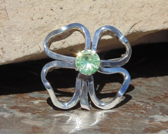Miguel Melendez ~ Vintage Taxco Sterling Silver Four Open Leaf Clover Pin / Brooch with Green Topaz Stone Center
