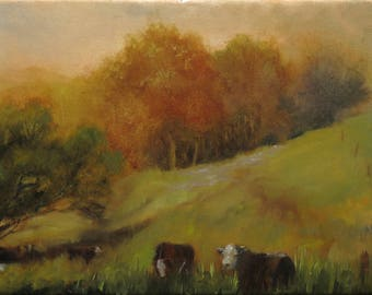 Oil Painting: Herefords at Pasture
