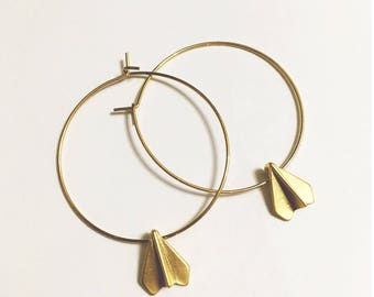 Airplane, Paper Airplane Gold Circle Hoops, Bon voyage, Travel, Traveler Gift, Road trip Earrings, Traveling, Going Away, Vacation, Delicate