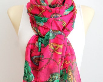 Scarf with Roses Pink Floral Scarf Floral Printed Scarf Floral Fabric Scarf Boho Scarf Women Fashion Accessories Gift for Women Christmas