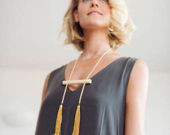 Statement Tassel Necklace, Statement Necklace, Tassel Necklace, Long Tassel Necklace, Two Tassel Necklace, Adjustable Necklace