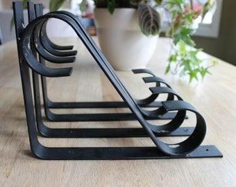 Vintage Wrought Iron Shelf Brackets, Scroll Wrought Iron Shelf Brackets