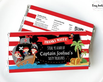 Pirate party Printables, Pirate birthday, Pirate printables, Pirate candy bar, printable Chocolate Wrapper, Aldi, Hershey, party favor